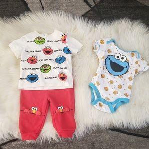 Cookie Monster/ Elmo Outfit 3-6 Months